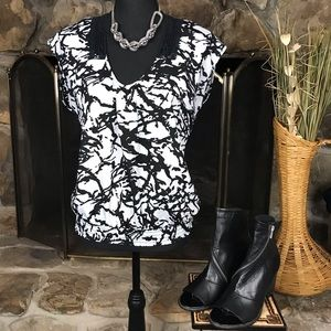Black Rainn | Printed Top | Black / White | S
